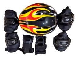 Kit Proteção Infantil com Capacete Joelheiras e Cotoveleira -Patins Bicicleta Skate