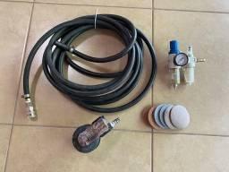 Lixadeira Orbital Pneumática 3 Polegada + kit montagem