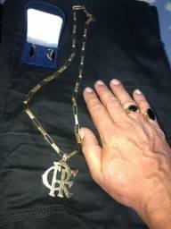 Cordão de ouro 18k brincos e anéis