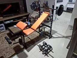 Aparelho de Musculação Seminovo + Barras + 52kg Anilhas. Entrego!