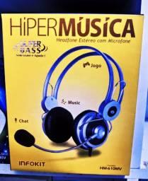 Fone Headfone Estéreo Microfone P2 Música Chat Jogo Skype