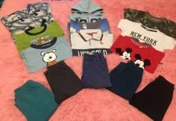 Lote de roupas de menino - tamanho 1 ano - 14 peças
