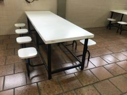 Mesa refeitório branca 8 lugares