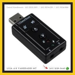 Placa Adaptador De Som Usb 7.1 Canais Audio P2 Mic Usb Pc