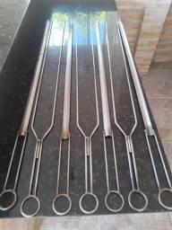 Conjunto Espeto aço Inox 110cm com 12 peças