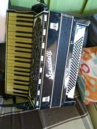 Sanfona acordeon scandalli 120 baixos 4 de voz eletrificado relíquia do ano 1955