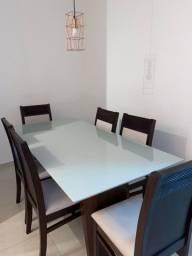 Mesa de Jantar - 6 Lugares com tampo de vidro