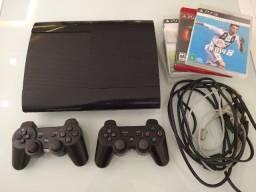 Imbatível!!!! PS3 Slim 2 Controles, 9 jogos, revisado e funciona