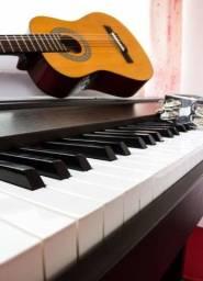 Aulas de canto com técnica vocal, violão popular e clássico, teclado e piano...