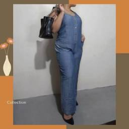 Parabólica  Plus size| Tam 46-48<br>Macacão feminino Jeans | Loja virtual BreChik Mary's