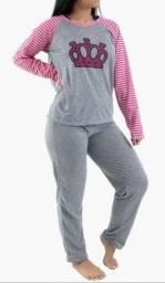 Pijama cinza feminino adulto tam G com detalhes na cor vermelho ou rosa R$49.90