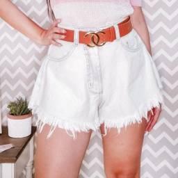 Short Jeans feminino cintura alta godê