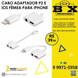 Cabo Adaptador Lightning P2 E Ios Fêmea P/ Carregar iPhone