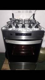 Fogão Inox 4 bocas luxo Seminovo eletrico- ENTREGO