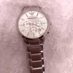 04d340ad070 Relógio Empório Armani cronógrafo Aço fundo prata pulseira de aço Premium  A.A.A - Bijouterias