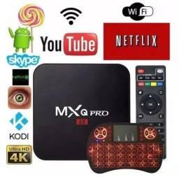 Kit Tv Box 4k 2gb Ram 16gb + Mini Teclado iluminado Netflix Transforma Sua Tv Em Smart Tv