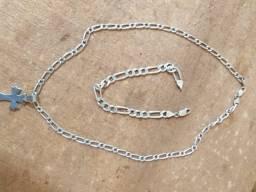 Corrente e pulseira de prata