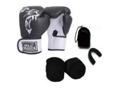Kit Luva Box Brazuca + Bandagem + Protetor bucal x 12x R$ 18,99