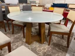 Mesa redonda de jantar de 6 lugares completa