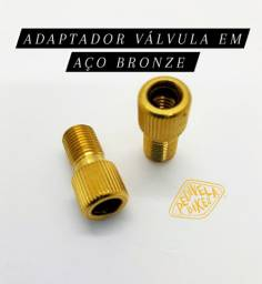 Adaptador de Válvula Presta p/Schrader (Americana) em AÇO Bronze Bike