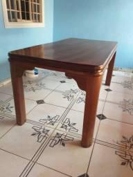 Mesa de madeira angelim pedra com 6 cadeiras