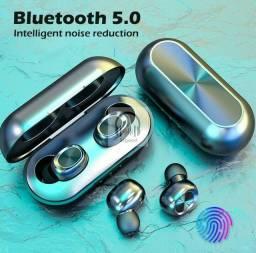 Fone de Ouvido Bluetooth 5.0 B5 TWS com Controle/Redução de Ruídos