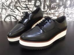 Sapato Oxford Arezzo - Cadarços Couro Preto - Tamanho 36