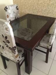Mesa tampo de vidro com 4 cadeiras + espelho com a mesma moldura da mesa