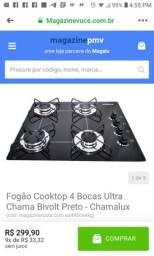 Fogão Cooktop 4 Bocas Ultra Chama Bivolt Preto - Chamalux