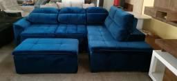 Sofa de canto retratil encosto reclinável