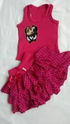 Conjunto blusinha com saia de bolinha nos tamanhos  PP, P, M e G