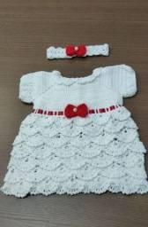 Conjuntinho de vestidinho em Crochê