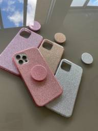 Capa para Iphone glitter gloss + suporte
