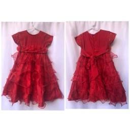 Vestido luxo longo infantil vermelho 1/2 anos no precinho.