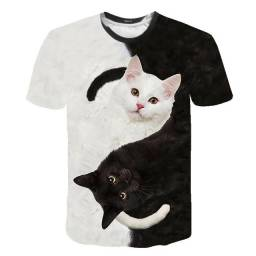 Camiseta gato preto 3d