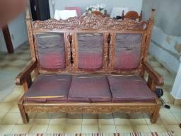 Sofá antigo de Madeira trabalhada (conjunto de 1, 2 e 3 lugares)
