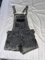 macaquinho jeans preto 45reais usado 2vezes