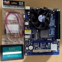 Kit processador, ram, placa mãe, ssd, cabo sata