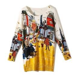 Pulôver (Suéter) Importado da China Impressão manga comprida