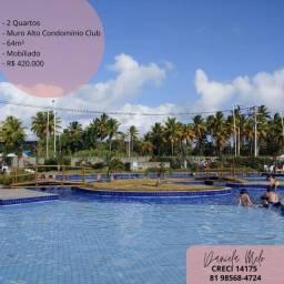 Título do anúncio: Muro Alto condomínio Club | Apartamento mobiliado 2 quartos | lazer espetacular