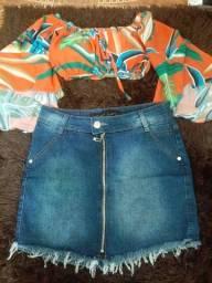 Saia jeans e cropped