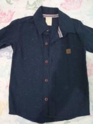 Camisa manga longa botão 2/3 anos