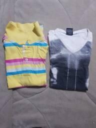 12 camisetas tamanho 10