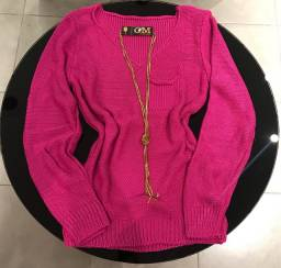 Blusa Moda Trico Pink com bolsinho