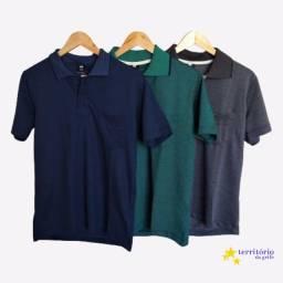 camisa polo com bolso p m g gg