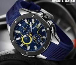 Relógio Masculino Megir M:2053 Cronógrafo 3 Atm Puls. Azul Original