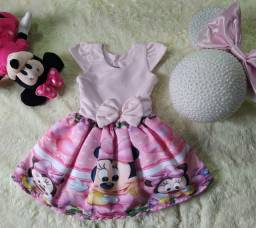 Vestido Minnie Rosa + Laço De Brinde