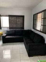 Sofá de canto em L, tecido preto, 2,50 x 2,50