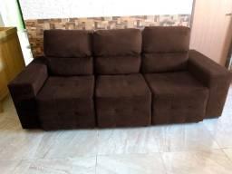 Sofá 3 lugares encostos reclináveis e chaises retráteis semi-novo