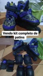 Patins Radical Rollers Ajustavel + Kit Proteção 26 a 41 Azul